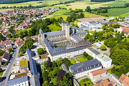 aerial view of munsterschwarzach abbey in