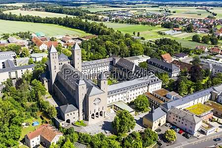 aerial view of munsterschwarzach abbey during