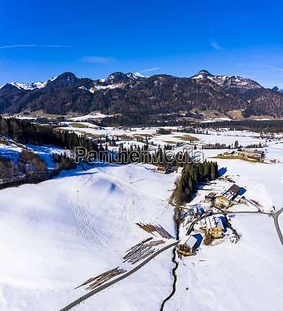 austria tyrol kossen helicopter view of