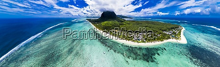 mauritius helicopter panorama of indian ocean