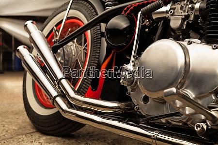 custom bobber motorbike in an workshop