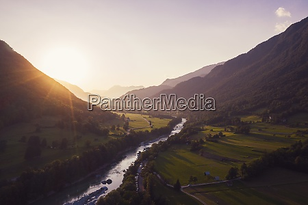 aerial view of soca river and