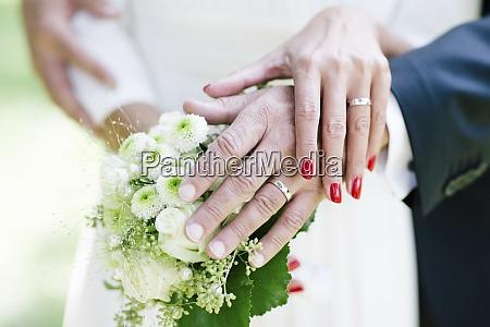 bride and groom showing wedding rings