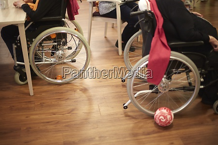 age demented senior women with wheelchairs