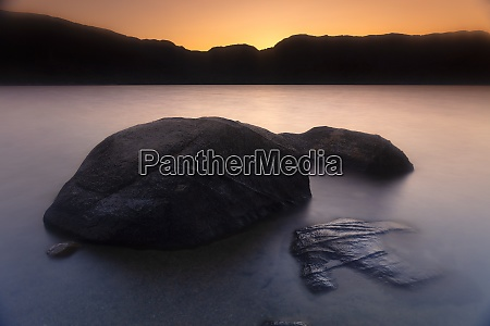boulders on shore of sanabria lake