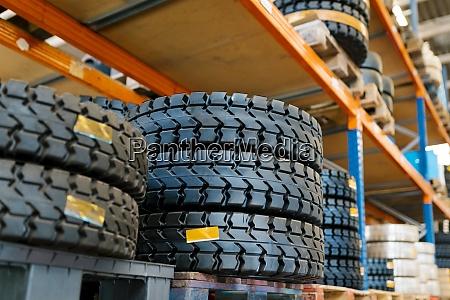 tires on rack in auto repair