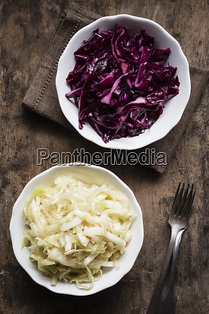 bowl of red and white cabbage