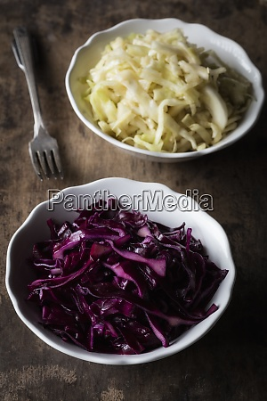 chopped red and white cabbage bowl
