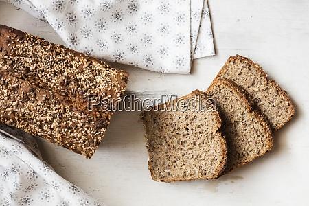 buckwheat bread loaf with sliced bread