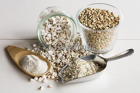 studio shot of buckwheat grains pops