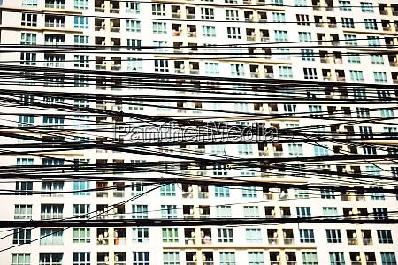 thailand bangkok tangled and messy electrical