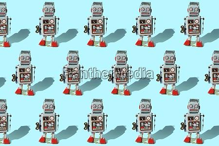 pattern of vintage robot toys