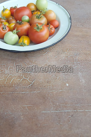 enamel plate of different tomatoes