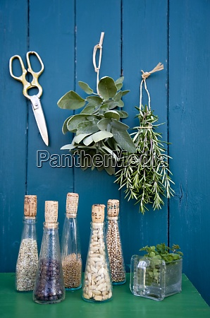 decoration with drying herbs scissors and