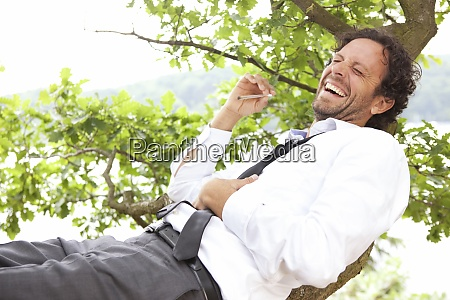 germany relaxed businessman lying in tree