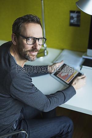 portrait of confident businessman using tablet