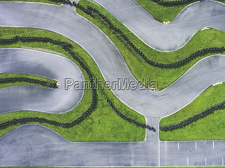 aerial view of go kart track