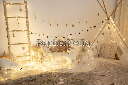 room decorated with fairy lights