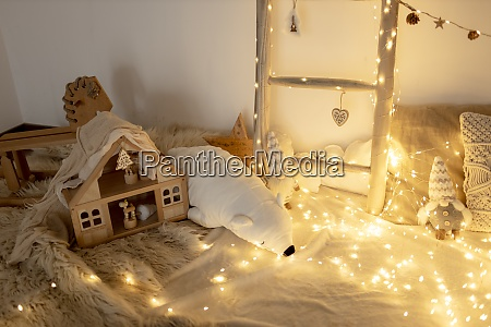 domestic room decorated with fairy lights