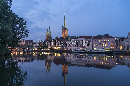 germany luebeck old town and river