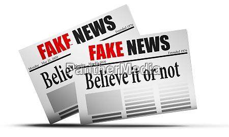 mockup of fake news newspaper
