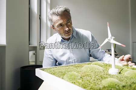 businessman with moss frame and wind