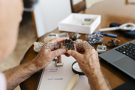 elderly man doing research on fossil