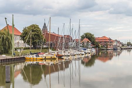 germany schleswig holstein gluckstadt sailboats moored
