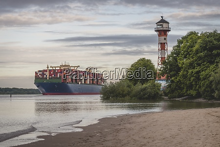 germany hamburg container ship on elbe