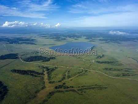 aerial view of lake karasie surrounded