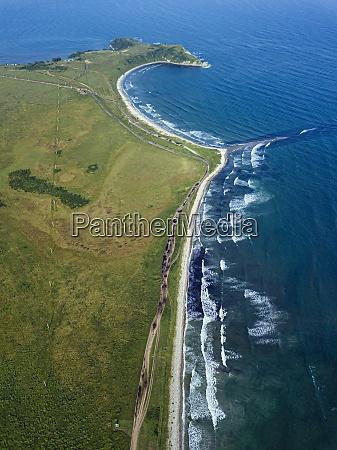 aerial view of coastline of krabbe