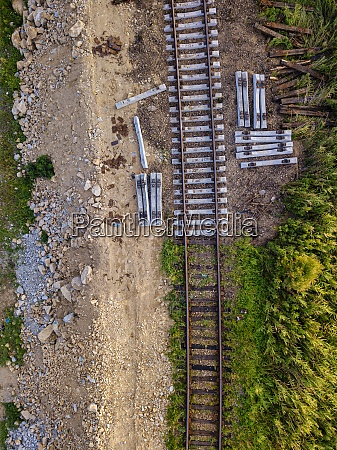 aerial view of empty railroad tracks