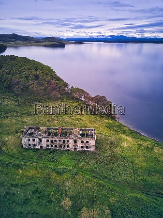aerial view of old building on