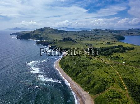 aerial view of green coastal cliffs
