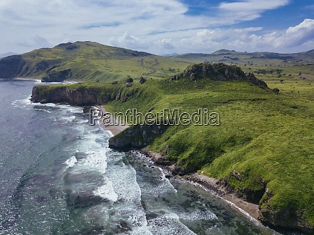 aerial view of green coastal cliffs