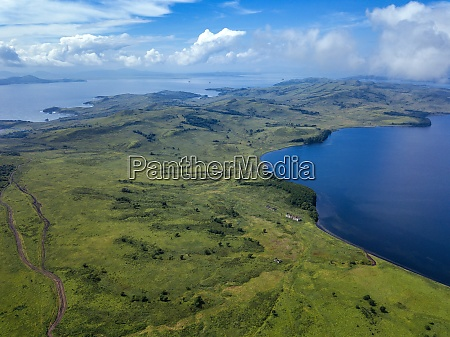 aerial view of green coastal landscape