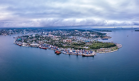 russia primorskykrai vladivostok aerial panorama of