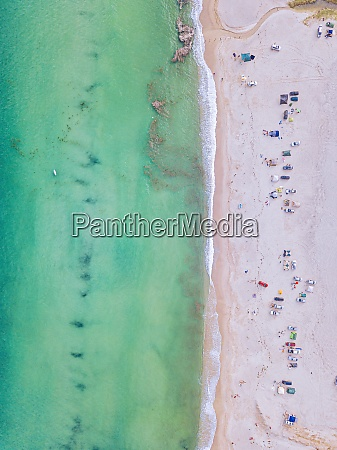 aerial view of people relaxing at