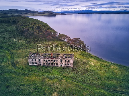 aerial view of abandoned building on