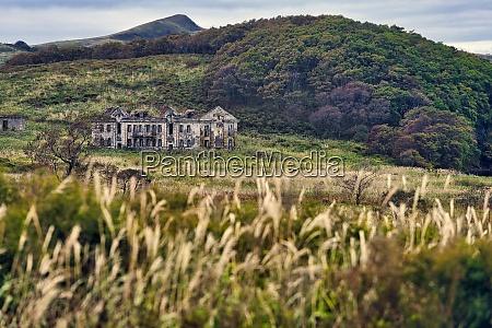 abandoned building on green landscape at