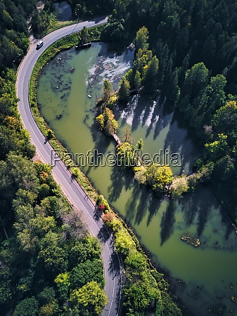landscape scenery of pond by road