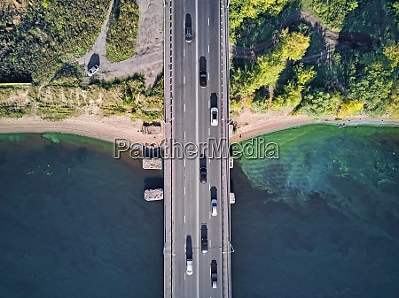cars on bridge over volga river