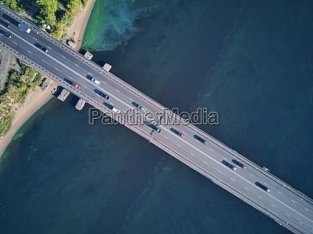 cars on bridge over volga river