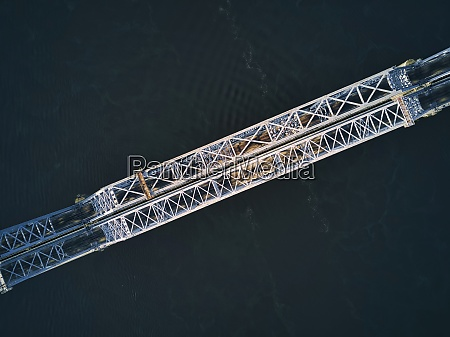 directly above of metallic railway bridge