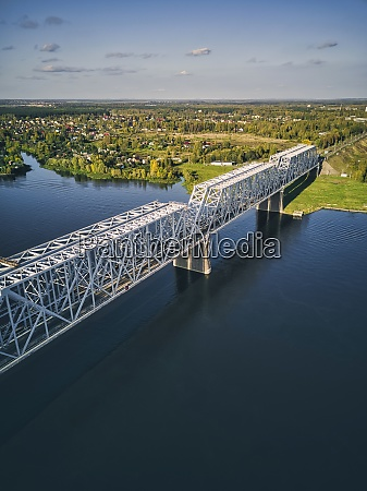metallic railway bridge over volga river