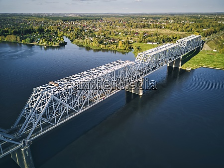 railway bridge over volga river near