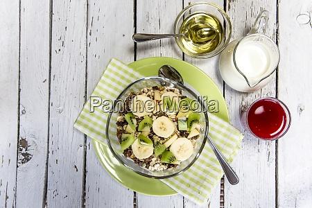 healthy breakfast with muesli fruit milk