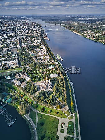 aerial view of volga river by