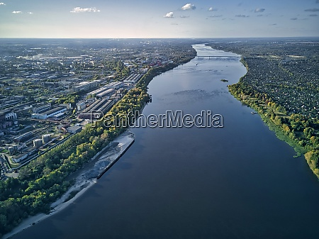 aerial view of volga river with