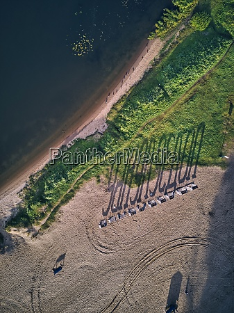 aerial view of beach with long
